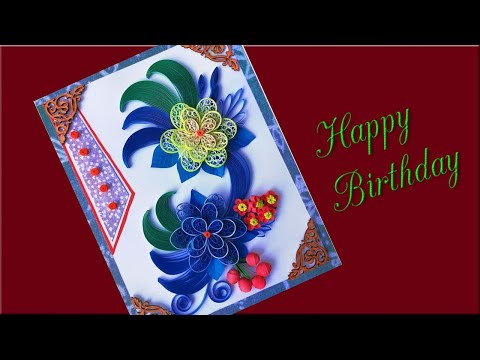 #PaperQuilling Beautiful Birthday Greeting card idea diy birthday card complete tutorial