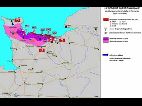 bataille de normandie carte La bataille de Normandie en carte animée   YouTube