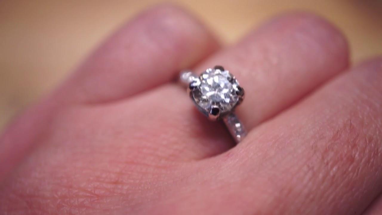Antique Engagement Ring Art Deco GIA .85 Old European Cut Diamond in ...