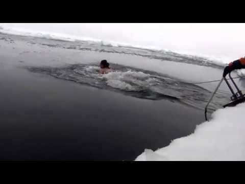 Jumping into Arctic Ocean on the North Pole