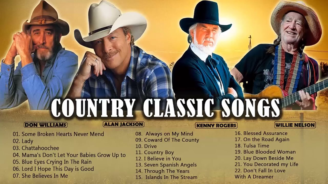 Alan Jackson, Kenny Rogers, Willie Nelson, Don Williams Best Songs - Top 100 Country Songs Ever