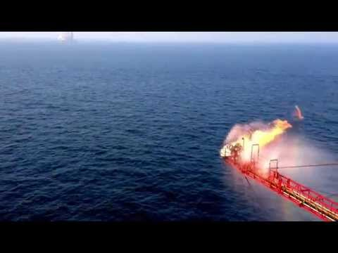 Offshore flare gas, Persian Gulf, offshore drilling rig