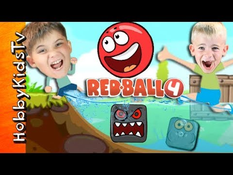 Real Life Red Ball Game + SKIT! iPad App Battle. Video Game Play HobbyKidsTV