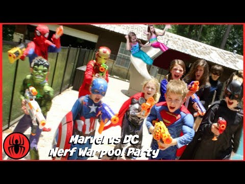Thumbnail: Nerf War Marvel vs DC, Spiderman Batman Mermaids pool party superhero real life movie SuperHeroKids