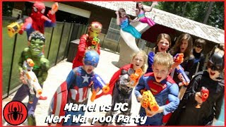 Nerf War Marvel vs DC, Spiderman Batman pool party superhero real life movie SuperHeroKids