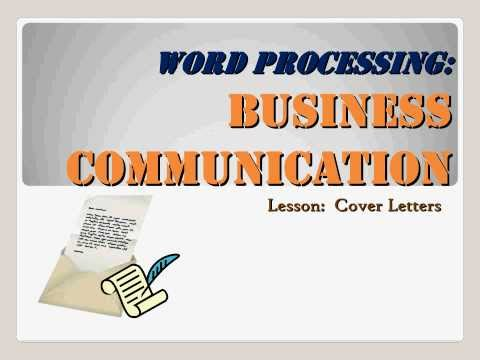 Business Communication - Cover Letters