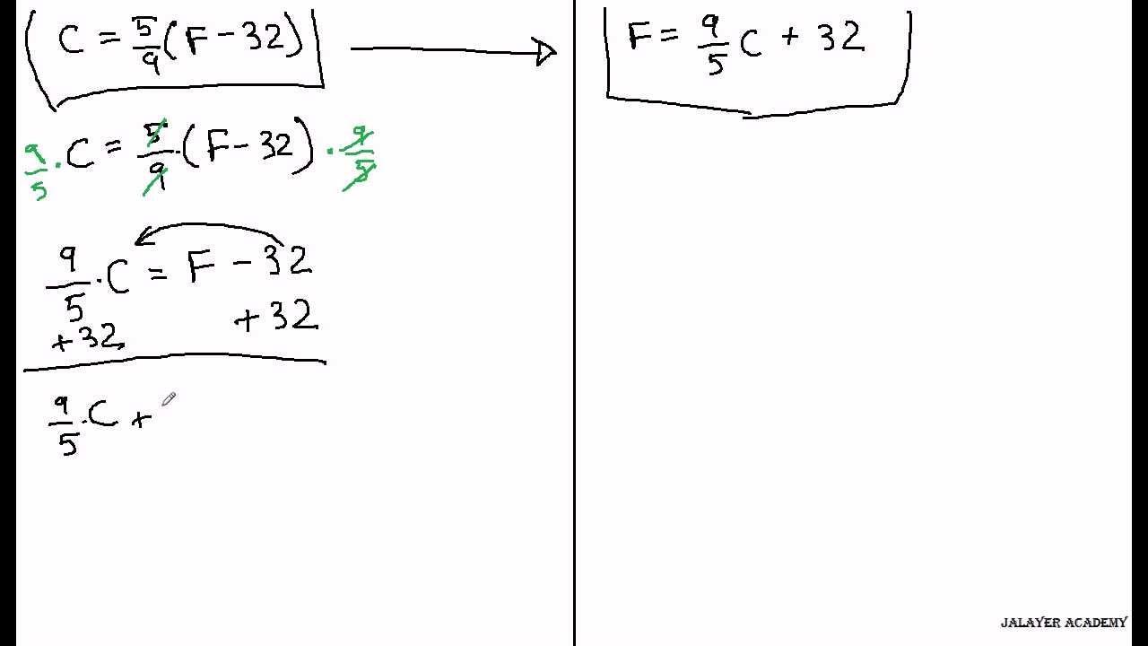 worksheet Equation To Convert Fahrenheit To Celsius math celsius fahrenheit algebra youtube algebra