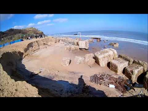 Hemsby Beach - Sea Flood Defence Washed Into Sea  - March 2018