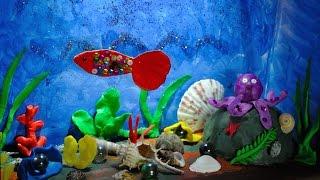 как сделать из коробки аквариум с рыбками
