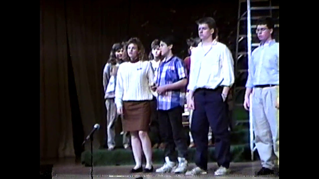 NCCS Cast Rehersing for School Play   March, 1989