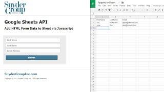 Google Sheets API - HTML Form Data to Google Sheet