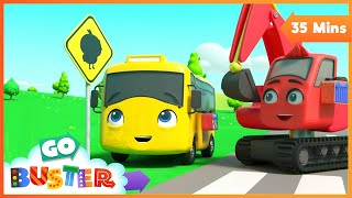 Five Little Ducks - Be Careful When Crossing the Road | Go Buster | Baby Cartoons | Kids Videos