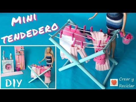 Mini tendedero de ropa para mu ecas con reciclaje diy youtube - Como hacer un tendedero de ropa ...