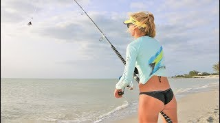 Girls DRONE FISHING for SHARKS on the Beach!
