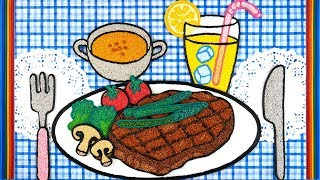 Coloring steak with Foam clay for Kids, Children | fork, broccoli, Soup, lemonade