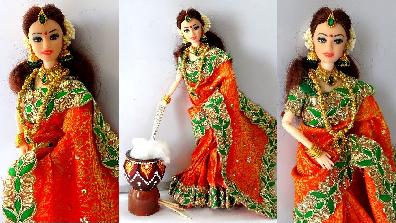 Barbie doll Gorgeous Saree Makeover for Famous Indian ...