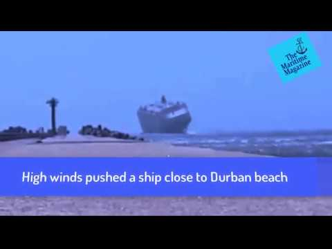 High Winds Pushed A Cargo Ship Close to Durban Beach