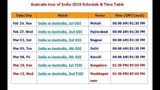Australia tour of India 2019 Schedule & Time Table