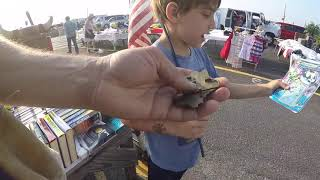 Shopping Columbus Flea Market For antiques & Vintage costume jewelry having a good day with my kid