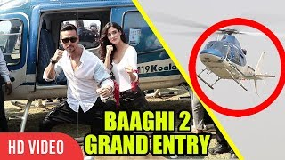 Tiger Shroff And Disha Patani Grand Entry From Helicopter | Baaghi 2 Trailer Launch | Full Video