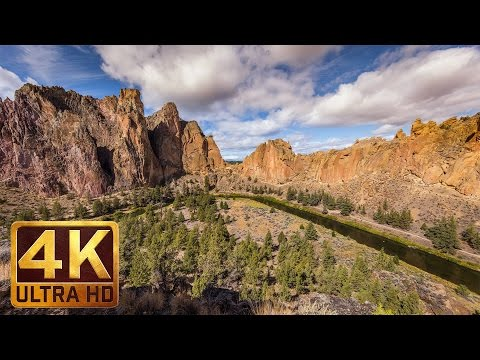 1 Hour UHD Nature Relax Video - Amazing Views from Smith Rock State Park, Oregon USA