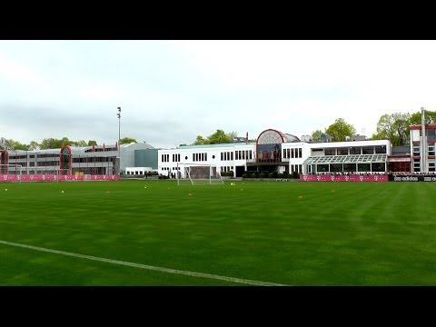 """Training area of FC Bayern Munich and close-up view of the """"holy grass"""""""