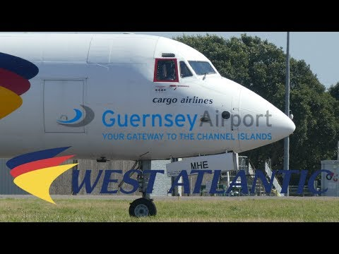 West Atlantic BAe ATP SE-MHE Departure from Guernsey Airport 10th August 2017 1080p HD
