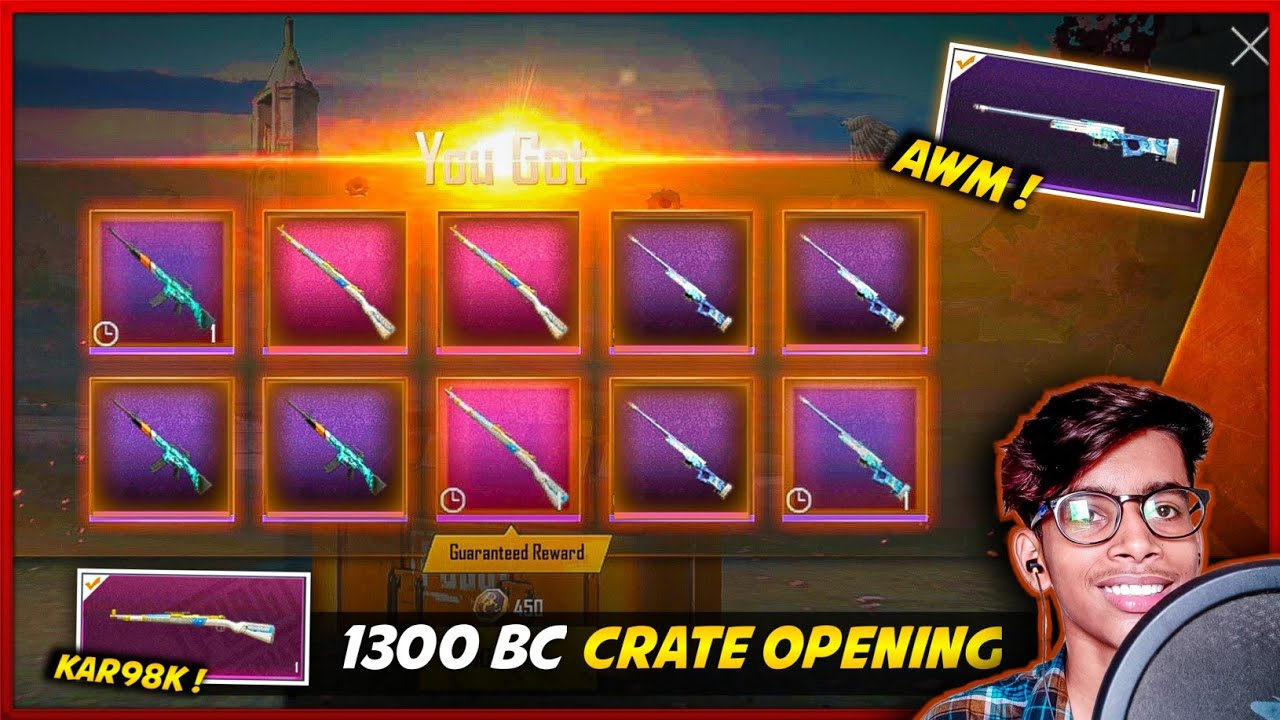 PUBG MOBILE LITE NEW CRATE OPENING - DRIFTER AWM AND KAR98K SKIN | 1300 BC SPEND | PUBG LITE