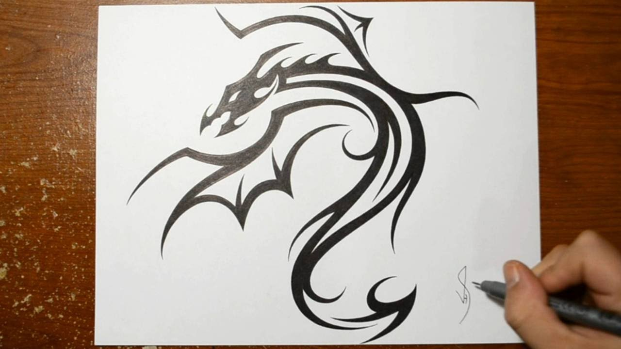 Designing a Cool Tribal Dragon Tattoo Design - Drawing 1 - YouTube