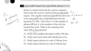 Revised SAT test 1 section 3 Math (no calculator) #4