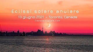 Il 10 giugno 2021, al mattino presto subito dopo l'alba, è stata osservata un'eclissi solare anulare a toronto, in canada. la distanza della luna dalla terra...