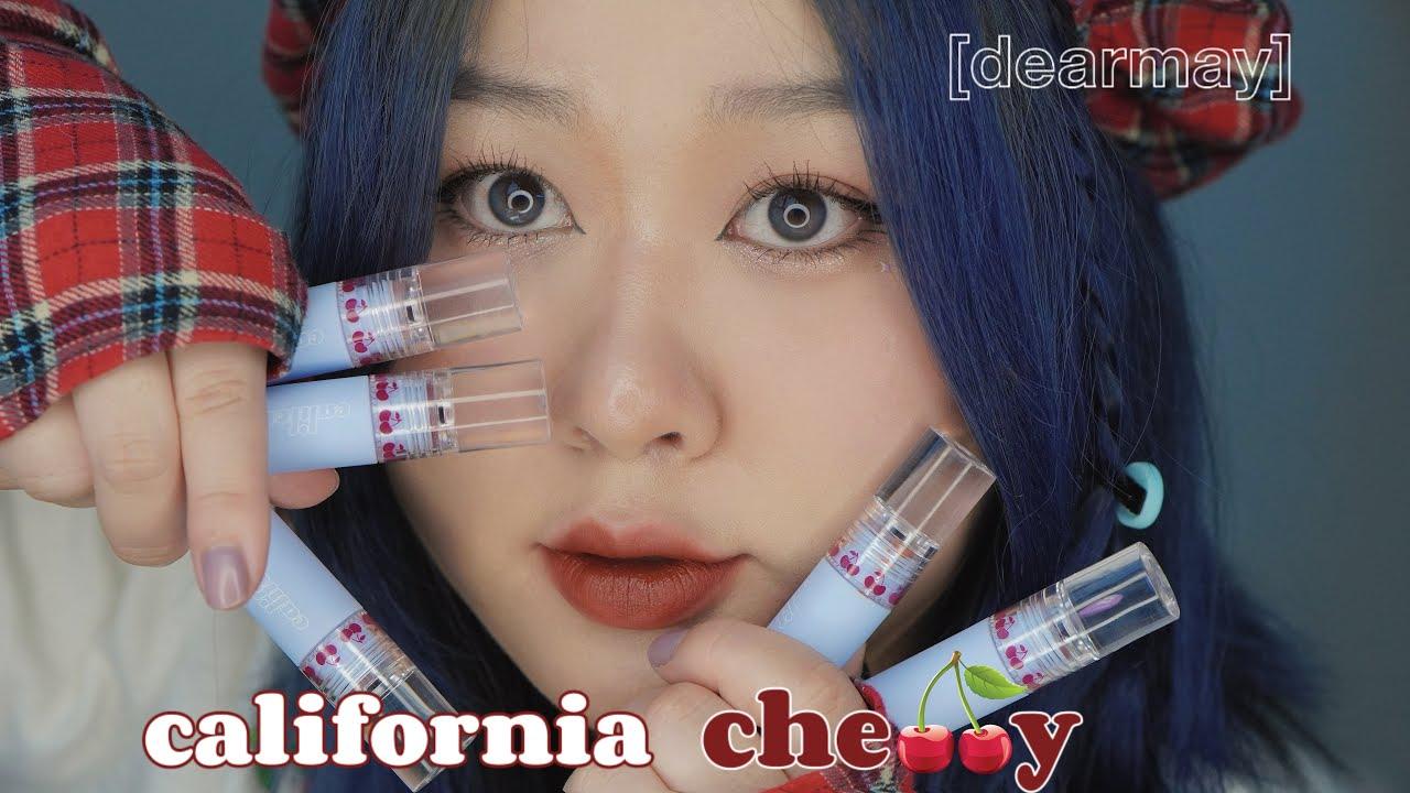 review \u0026 swatch🍒 dearmay california cherry velvet tint   kieuchinh2706
