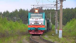 """2ЭС6-045 """"Синара"""" с грузовым поездом и приветливой бригадой"""