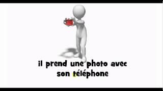 French pronunciation = il prend une photo avec son téléphone