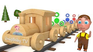 Learn Colors with Wooden Toy Train and Fidget Spinner for Kids