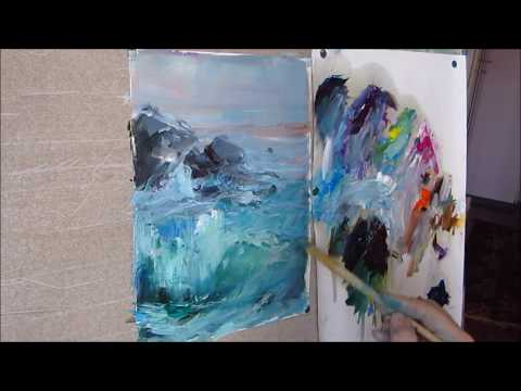Painting with oil  The sea surf