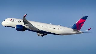 Delta Air Lines Airbus A350-900 Taxi and Takeoff from Los Angeles