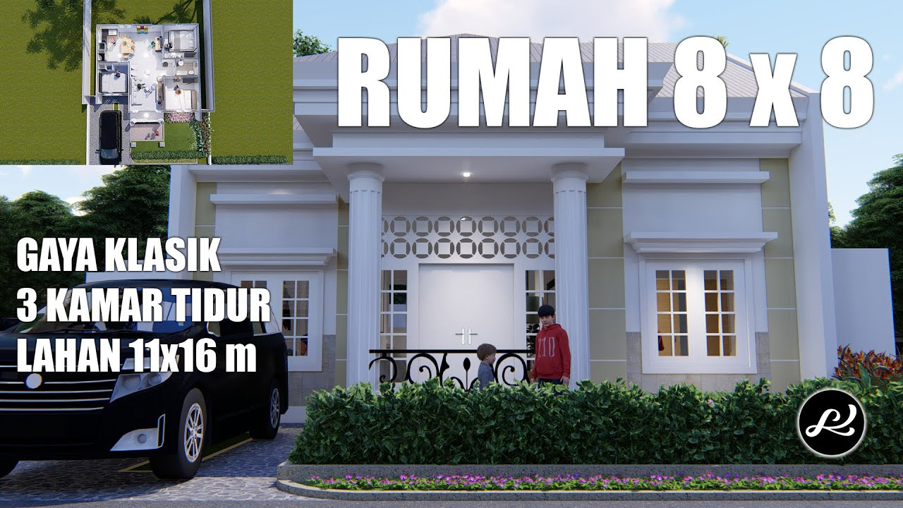 Desain Rumah Klasik 1 Lantai Desain Rumah 8x8 3 Kamar Tidur Youtube Gambar rumah klasik 1 lantai