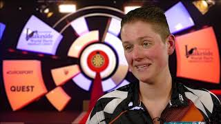 Sharon Prins after defeating Roz Bulmer & with highest checkout of tournament