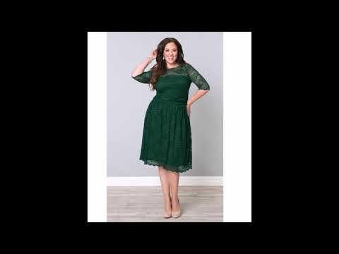 Зеленый цвет  в платья для полных