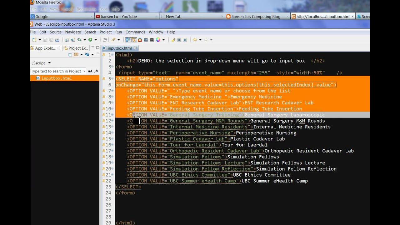 Combination of input box and dropdown menu using JavaScript