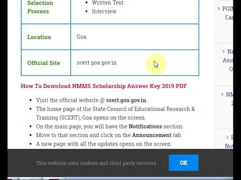 NMMS Goa Answer Key 2019 PDF Download @scert.goa.gov.in