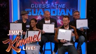 the cast of guardians of the galaxy vol 2 plays guess the guardian