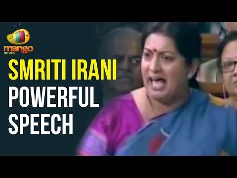 Smriti Irani Powerful Speech in Parliament