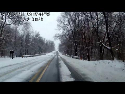 Snowy Drive around Metro Detroit, Michigan #Blizzard2017