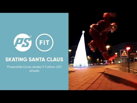 Skating Santa Claus - Powerslide Doop Classic Inline skates X Fothon LED wheels