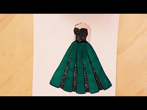 رسم فستان سهل رسم فستان أخضر للسهرة رسم سهل How To Draw A