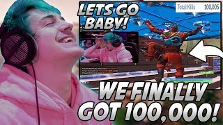 Ninja FREAKS OUT After FINALLY Reaching 100,000 Kills On Fortnite! *#2 In The WORLD*
