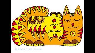 Позитивные коты. Живопись и раскраски. Быстрая презентация