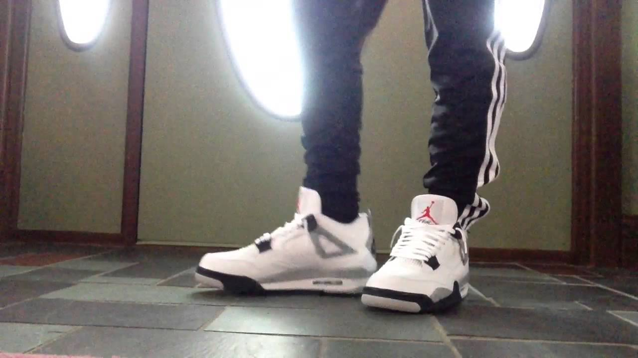 58bff8b6a61ca5 ... store air jordan 4 white cement 2016 on feet with pants youtube a6f96  a56be